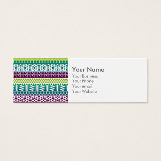 Monogram Burgundy Aqua Aztec Tribal Print Pattern Mini Business Card