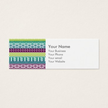 Aztec Themed Monogram Burgundy Aqua Aztec Tribal Print Pattern Mini Business Card