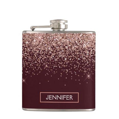 Monogram Burgundy Blush Pink Rose Gold Glitter Flask