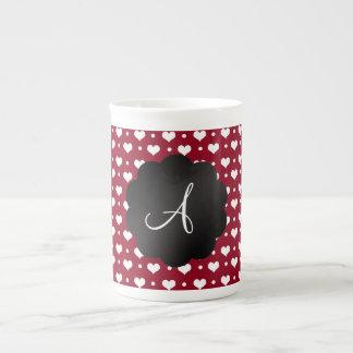 Monogram burgundy red hearts polka dots bone china mug