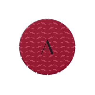 Monogram burgundy red mustache pattern candy tin