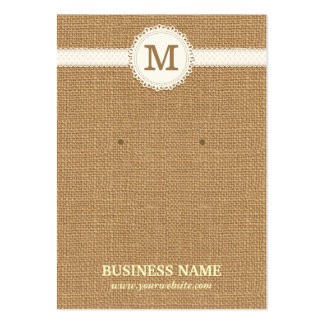 Monogram Burlap Earring & Jewelry Display Cards Large Business Cards (Pack Of 100)