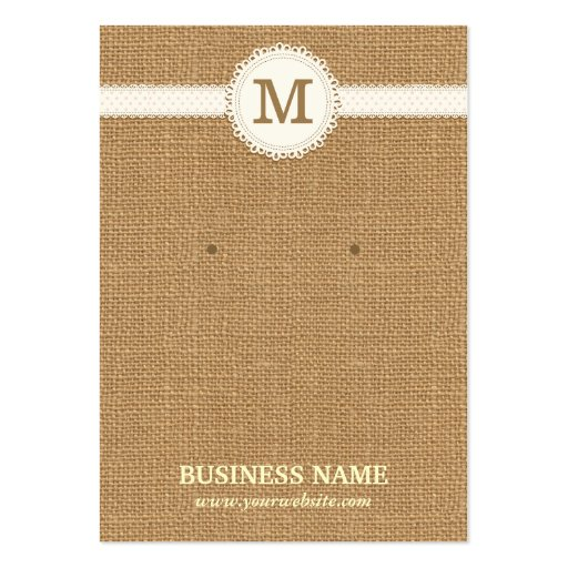 Monogram Burlap Earring & Jewelry Display Cards Business Card