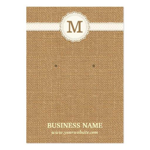 Monogram Burlap Earring & Jewelry Display Cards Business Card