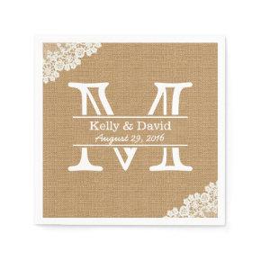Monogram Burlap & Lace Rustic Wedding Standard Cocktail Napkin