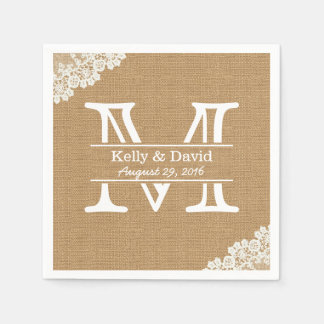 Monogram Burlap & Lace Rustic Wedding Paper Napkin