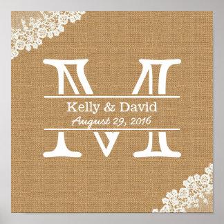 Monogram Burlap & Lace Rustic Wedding Poster