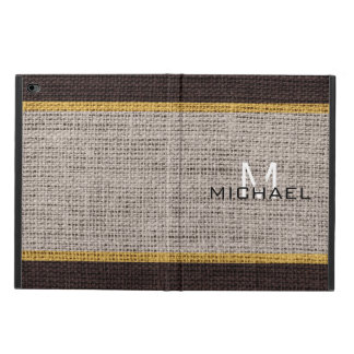 Monogram Burlap Linen Rustic Jute Powis iPad Air 2 Case