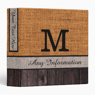 Monogram Burlap Rustic Jute Look Wood Binder