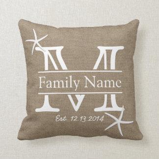 Monogram Burlap & Starfish Rustic Family Name Throw Pillow