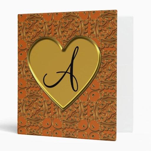 Monogram burnt orange gold moroccan damask binders