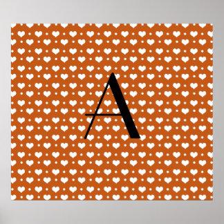 Monogram burnt orange hearts and dots posters