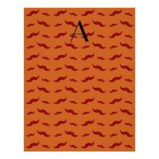 "Monogram burnt orange mustache pattern 8.5"" x 11"" flyer"