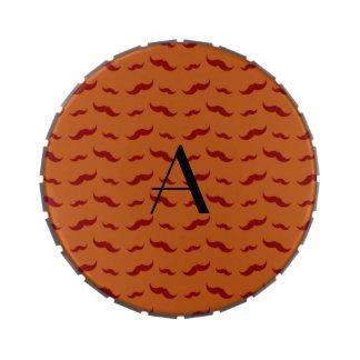 Monogram burnt orange mustache pattern jelly belly tin