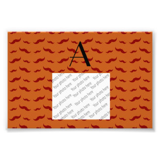 Monogram burnt orange mustache pattern photo print