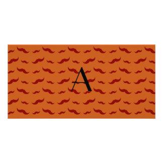 Monogram burnt orange mustache pattern photo cards