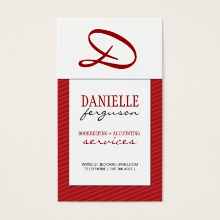 Modern Red Monogram Vertical Business Card Profile Card