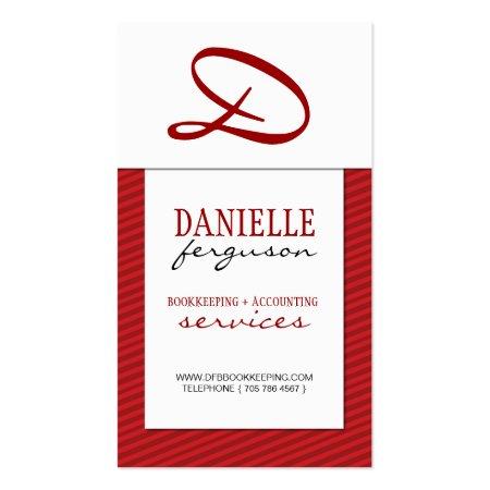 Modern Red Monogram Vertical Business Card Profile Card