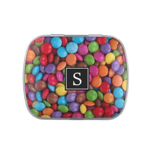 Monogram _ Button_Shaped Candy _ Purple Pink Candy Tin