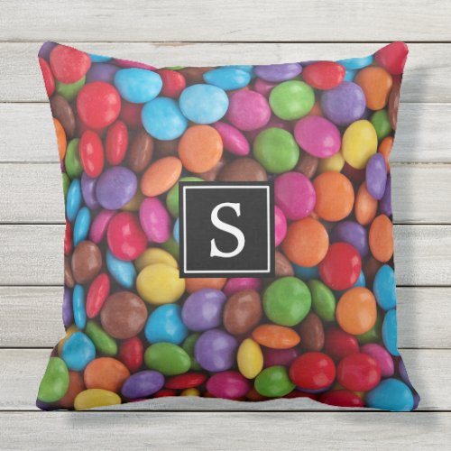 Monogram _ Button_Shaped Candy _ Purple Pink Outdoor Pillow