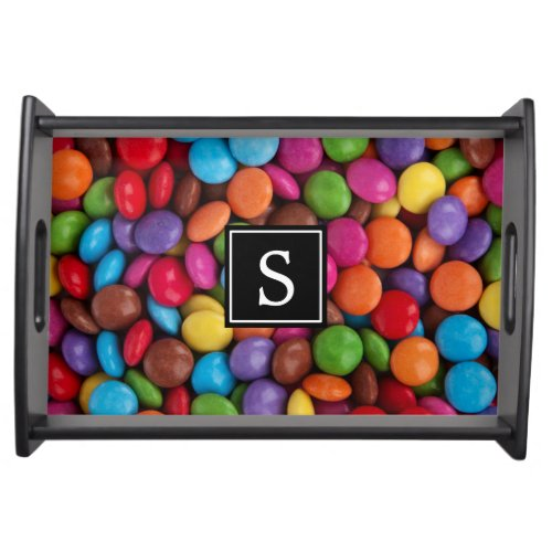 Monogram _ Button_Shaped Candy _ Purple Pink Serving Tray