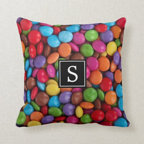 Monogram _ Button_Shaped Candy _ Purple Pink Throw Pillow