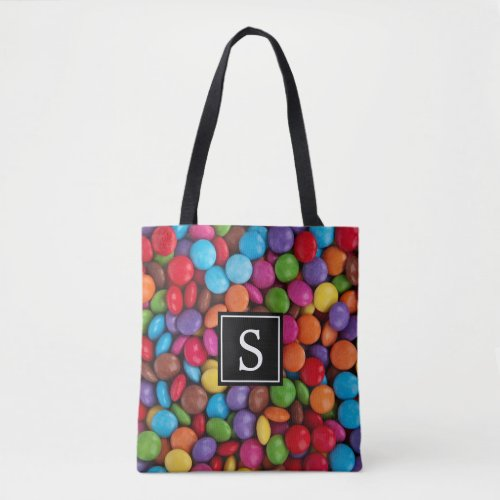 Monogram _ Button_Shaped Candy _ Purple Pink Tote Bag