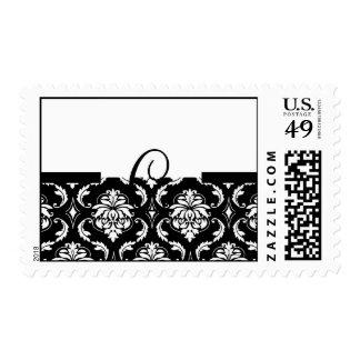 Monogram C Black White Damask Wedding USPS Postage