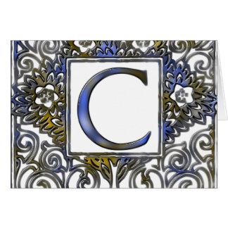 Monogram C- Blue and Brown Card