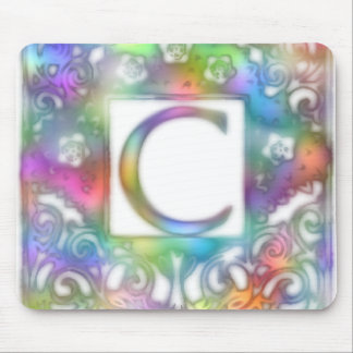 Monogram C- Bright Colors Mouse Pad