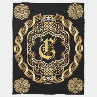 Monogram C CUSTOMIZE To Change Background Color Fleece Blanket