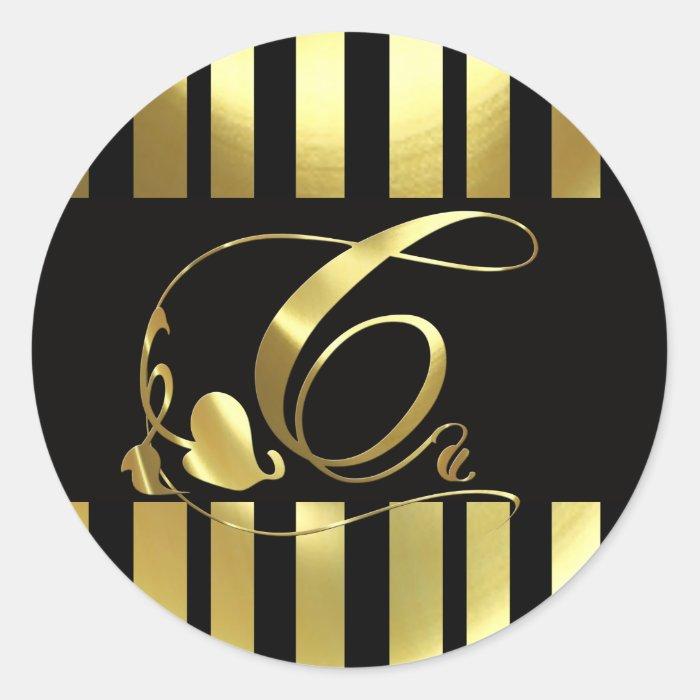 Monogram C Elegant Gold and Black Classic Round Sticker