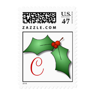 Monogram C Holly Christmas Postage Stamps