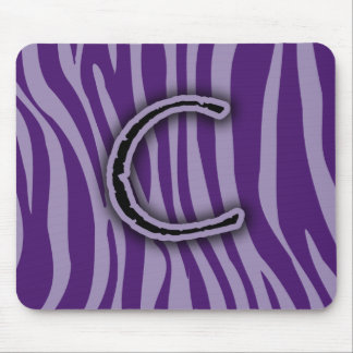 Monogram C Purple Zebra Stripes Mouse Pad