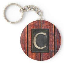 Monogram C Rustic Barnwood Brown Keychain
