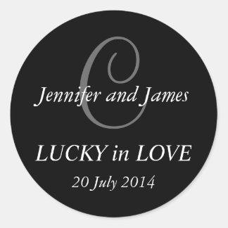 Monogram C Stickers for Weddings Black
