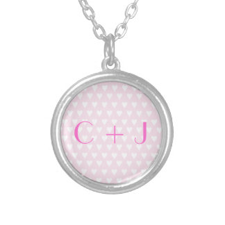 Monogram C sweethearts initials pink love hearts Round Pendant Necklace