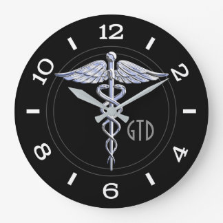 Monogram Caduceus Medical Symbol on Black Large Clock