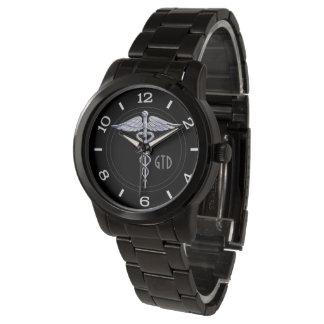 Monogram Caduceus Medical Symbol on Black Wrist Watch