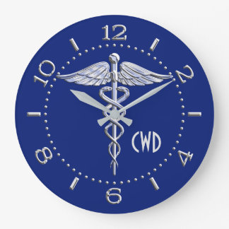 Monogram Caduceus Medical Symbol on Blue Large Clock