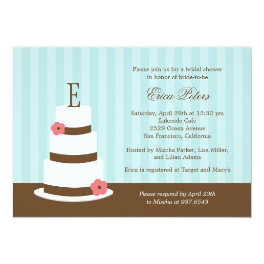 Monogram Cake Bridal Shower Invitation - Blue