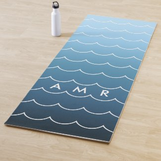 Monogram Calming Blue Gradient Wave Pattern Yoga Mat