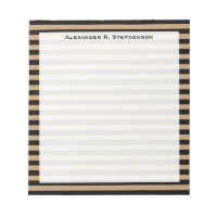 Monogram Camel Brown and Black Stripe Notepad