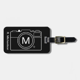 Monogram Camera Luggage Tag - Black & White