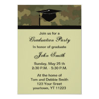 Monogram Camouflage Graduation Party Invitation