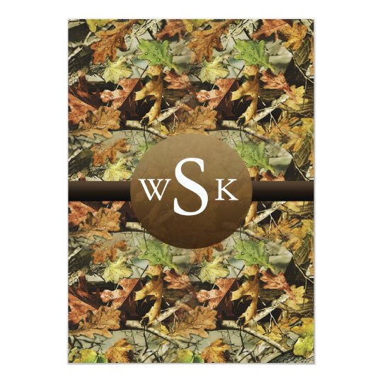 Monogram Camouflage Wedding Card