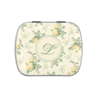Monogram candy tin pill box custom floral roses