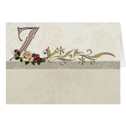 Z Alphabet In Rose Monogram Card Rose Alphabet