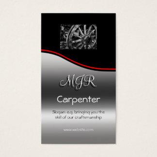 Monogram, Carpenter Business, red swoosh Business Card