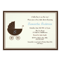 Monogram Carriage Baby Shower Invite - Boy
